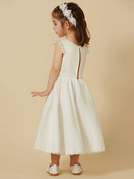 Princess Knee Length Wedding / First Communion Flower Girl Dresses - Lace / Cotton Sleeveless Scoop Neck With Pleats_2
