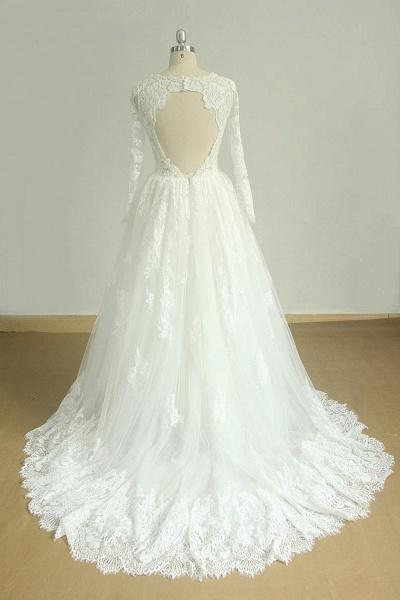 SD1963 Long Sleeve Appliques Jewel Ball Gown Wedding Dress_3