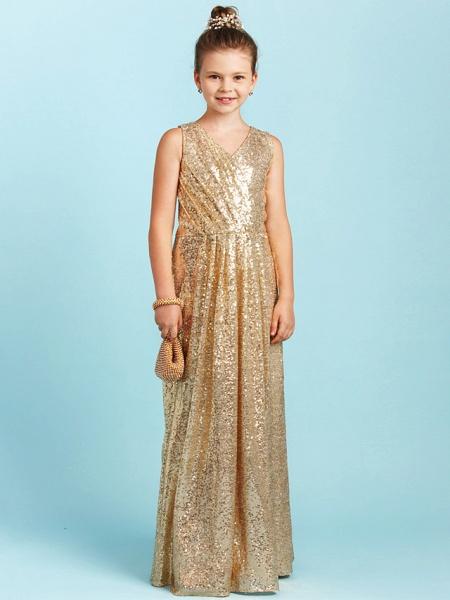 Princess / A-Line V Neck Floor Length Sequined Junior Bridesmaid Dress With Pleats / Sequin_1
