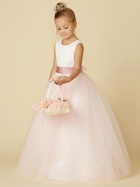 Princess Floor Length Wedding / Birthday / Pageant Flower Girl Dresses - Satin / Tulle Sleeveless Jewel Neck With Lace / Appliques_5
