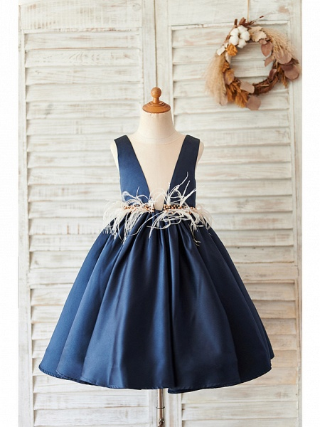 Ball Gown Knee Length Wedding / Birthday Flower Girl Dresses - Satin Sleeveless V Neck With Feathers / Fur / Beading_1
