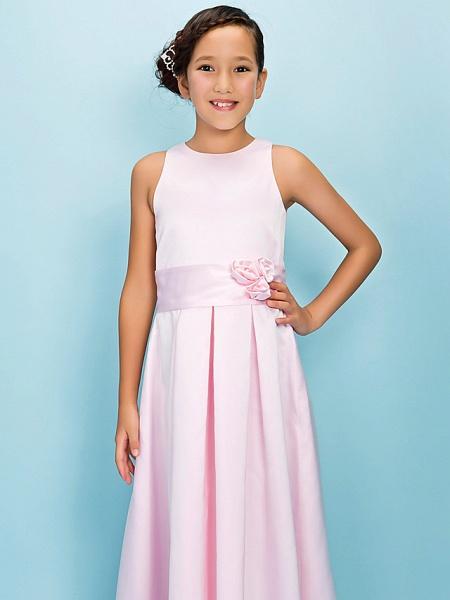 A-Line Jewel Neck Floor Length Satin Junior Bridesmaid Dress With Sash / Ribbon / Draping / Flower / Spring / Fall / Winter / Apple / Hourglass_5