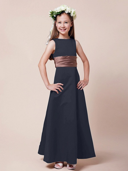 Princess / A-Line Bateau Neck Floor Length Satin Junior Bridesmaid Dress With Sash / Ribbon / Ruched / Spring / Summer / Fall / Winter / Apple_33