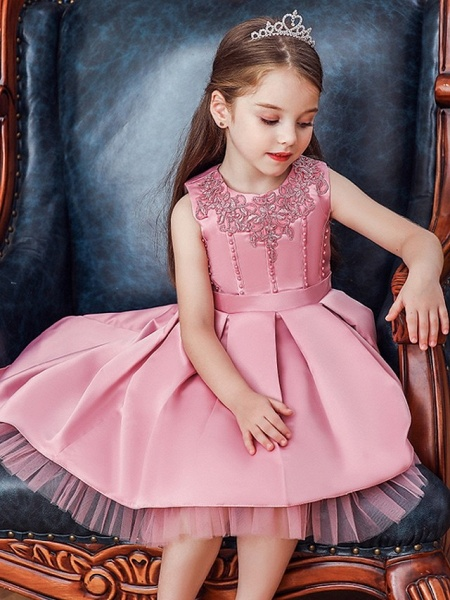 Princess / Ball Gown Knee Length Wedding / Party Flower Girl Dresses - Lace / Satin Sleeveless Jewel Neck With Sash / Ribbon / Pleats / Embroidery_2