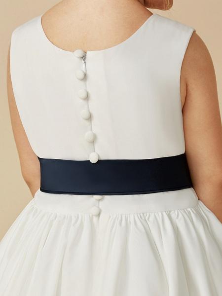 A-Line Tea Length Wedding / First Communion Flower Girl Dresses - Taffeta Sleeveless Jewel Neck With Sash / Ribbon / Pleats_12