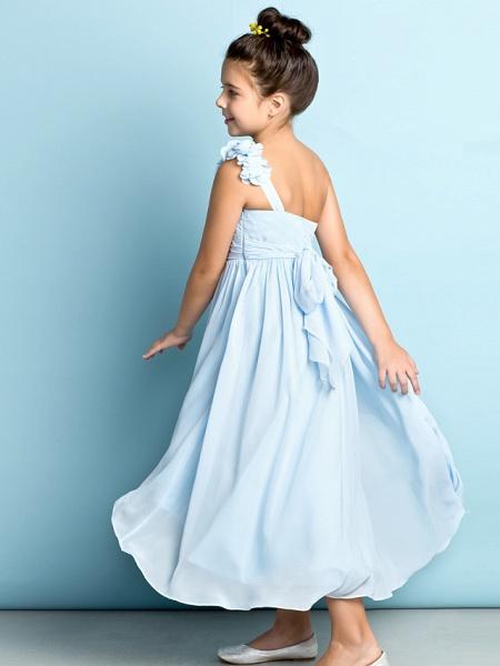 A-Line One Shoulder Asymmetrical Chiffon Junior Bridesmaid Dress With Criss Cross / Flower / Natural / Mini Me_6