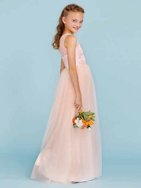 Princess / A-Line Crew Neck Floor Length Lace / Tulle Junior Bridesmaid Dress With Pleats / Wedding Party / See Through_3