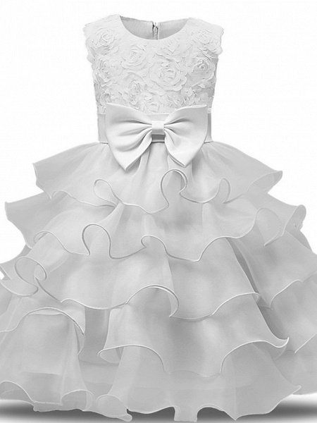 Princess Midi Wedding / First Communion Flower Girl Dresses - Lace / Tulle Sleeveless Jewel Neck With Bows / Belt / Bow(S)_1