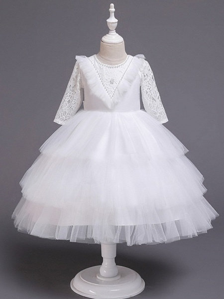 Princess / Ball Gown Knee Length Wedding / Party Flower Girl Dresses - Tulle Long Sleeve Jewel Neck With Bow(S) / Beading / Embroidery_1