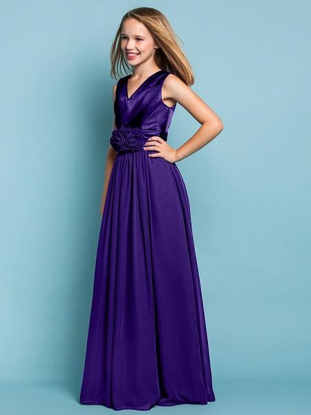 Sheath / Column V Neck Floor Length Chiffon Junior Bridesmaid Dress With Flower / Spring / Summer / Fall / Apple / Hourglass_44