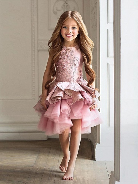 A-Line Knee Length Wedding / Birthday / Pageant Flower Girl Dresses - Tulle / Cotton Sleeveless Jewel Neck With Lace / Beading / Paillette_1
