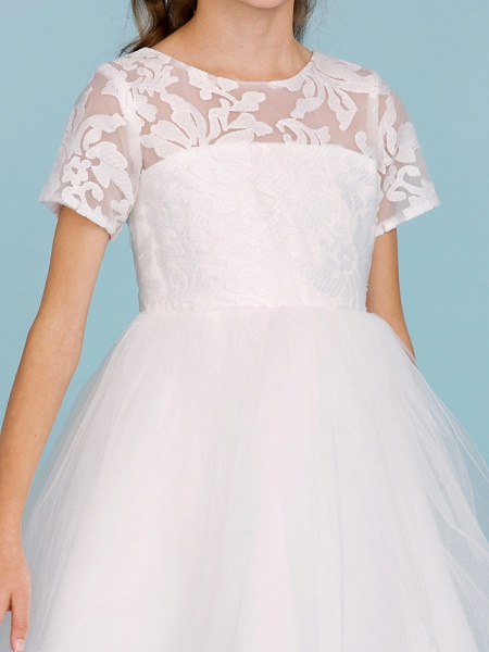 Princess / A-Line Crew Neck Knee Length Lace / Tulle Junior Bridesmaid Dress With Pleats / Wedding Party / See Through_7