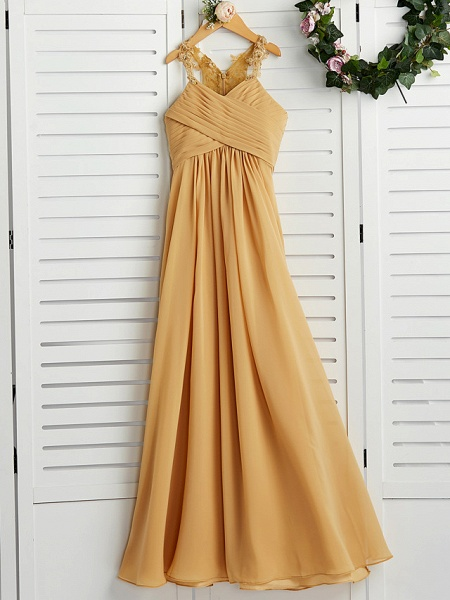 A-Line Halter Neck Floor Length Chiffon Junior Bridesmaid Dress With Appliques / Ruching / Wedding Party_4