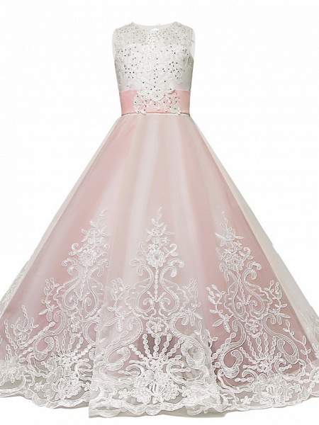 Princess Sweep / Brush Train / Long Length Wedding / Party / Pageant Flower Girl Dresses - Lace / Tulle Sleeveless Jewel Neck With Belt / Appliques_5