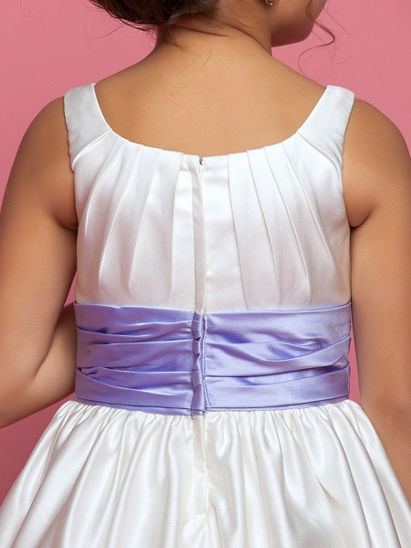 Princess / A-Line Ankle Length Satin Sleeveless Square Neck With Sash / Ribbon / Ruched / Side Draping_7