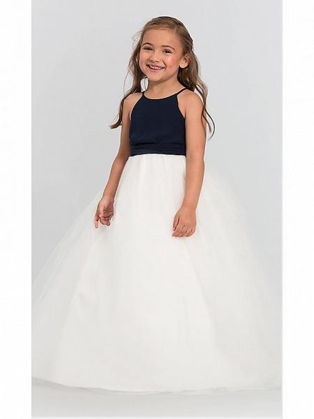A-Line Floor Length Wedding / Party Flower Girl Dresses - Satin / Taffeta / Tulle Sleeveless Jewel Neck With Bow(S) / Tier_6