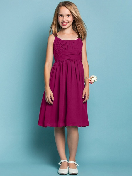 Sheath / Column Straps Knee Length Chiffon Junior Bridesmaid Dress With Ruched / Draping / Spring / Summer / Fall / Apple / Hourglass_40