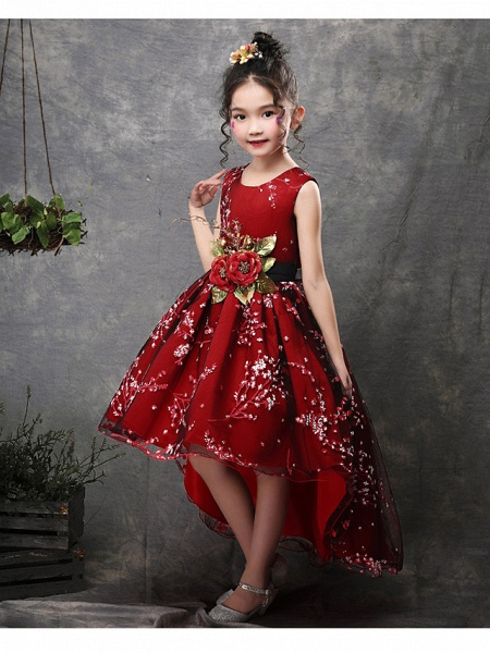 Princess Asymmetrical Wedding / Party / Pageant Flower Girl Dresses - Satin / Tulle Sleeveless Jewel Neck With Belt / Appliques_3