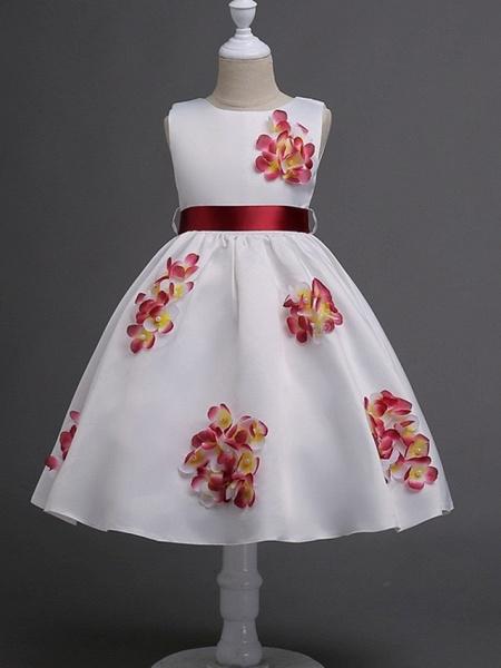 Princess / Ball Gown Knee Length Wedding / Party Flower Girl Dresses - Satin Sleeveless Jewel Neck With Sash / Ribbon / Bow(S) / Flower_4