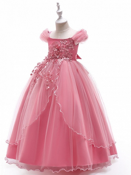Ball Gown Floor Length Wedding / Party Flower Girl Dresses - Tulle Sleeveless Off Shoulder With Bow(S) / Solid / Tiered_10