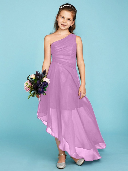 A-Line One Shoulder Asymmetrical Chiffon Junior Bridesmaid Dress With Side Draping / Wedding Party_22