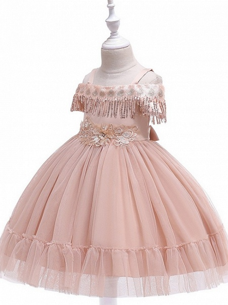 Princess / Ball Gown Knee Length Wedding / Party Flower Girl Dresses - Tulle Short Sleeve Off Shoulder With Bow(S) / Pleats / Beading_9