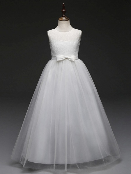 Ball Gown Floor Length Wedding / Party Flower Girl Dresses - Tulle Sleeveless Jewel Neck With Bow(S) / Solid_9