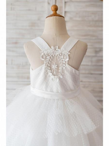Ball Gown Knee Length Wedding / Birthday Flower Girl Dresses - Tulle Sleeveless Jewel Neck With Belt / Appliques_4