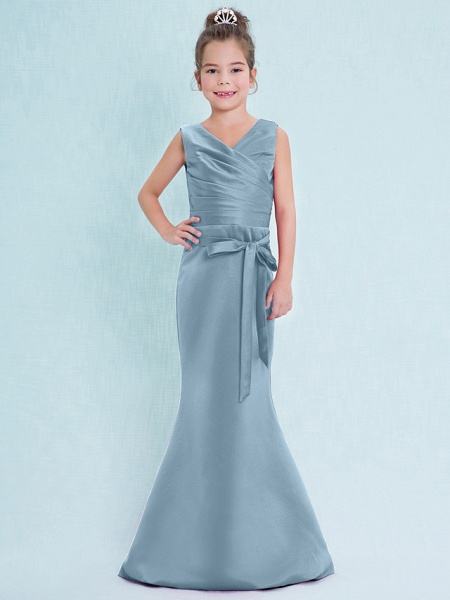 Mermaid / Trumpet V Neck Floor Length Satin Junior Bridesmaid Dress With Criss Cross / Natural_32