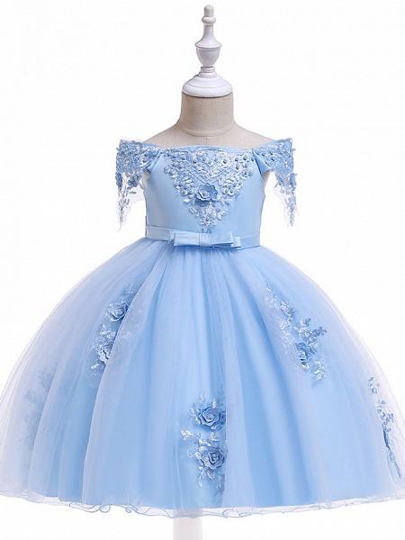 A-Line Knee Length Wedding / Birthday / Pageant Flower Girl Dresses - Tulle Short Sleeve Off Shoulder With Petal / Sash / Ribbon / Trim_2