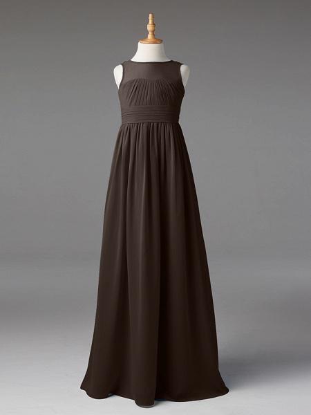 Princess / A-Line Jewel Neck Floor Length Chiffon Junior Bridesmaid Dress With Sash / Ribbon / Pleats_32