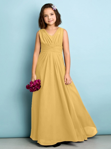 A-Line V Neck Floor Length Chiffon Junior Bridesmaid Dress With Criss Cross / Natural / Mini Me_21