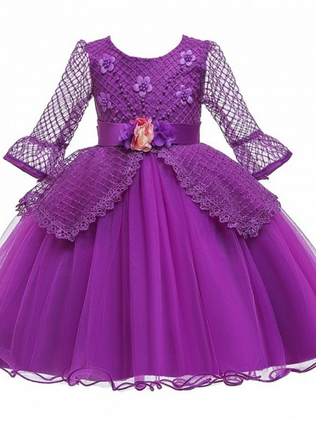 Princess / Ball Gown Knee Length Wedding / Party Flower Girl Dresses - Tulle Long Sleeve Jewel Neck With Sash / Ribbon / Bow(S) / Beading_6