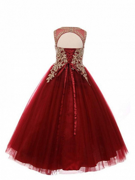 Ball Gown Long Length Wedding / Birthday / Pageant Flower Girl Dresses - Cotton / Nylon With A Hint Of Stretch / Tulle Sleeveless Jewel Neck With Beading / Appliques / Crystals / Rhinestones_3