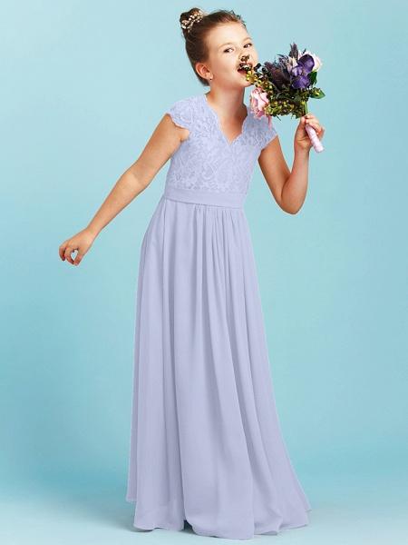 Princess / A-Line V Neck Floor Length Chiffon / Lace Junior Bridesmaid Dress With Sash / Ribbon / Pleats / Wedding Party_46
