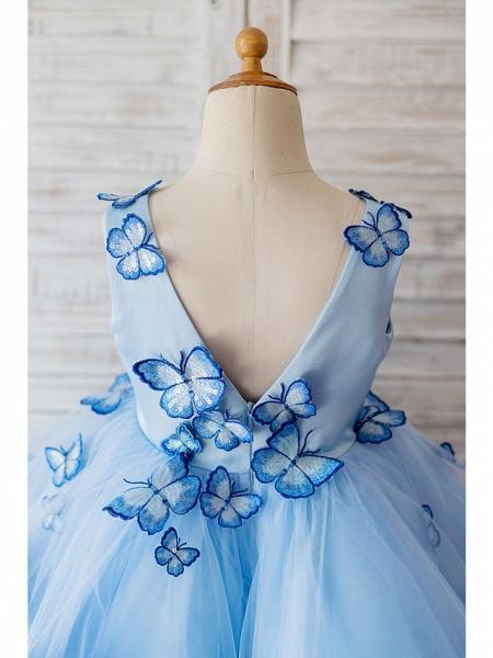 Ball Gown Knee Length Wedding / Birthday Flower Girl Dresses - Satin / Tulle Sleeveless V Neck With Butterfly Design_4