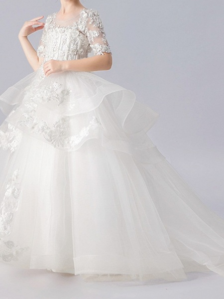 Ball Gown Sweep / Brush Train Pageant Flower Girl Dresses - Polyester Half Sleeve Jewel Neck With Appliques / Tiered_1