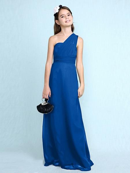 Sheath / Column One Shoulder Floor Length Chiffon Junior Bridesmaid Dress With Side Draping / Natural_37