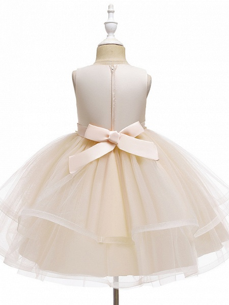 A-Line Knee Length Wedding / Party / Pageant Flower Girl Dresses - Tulle / Matte Satin / Poly&Cotton Blend Sleeveless Jewel Neck With Beading / Solid_14