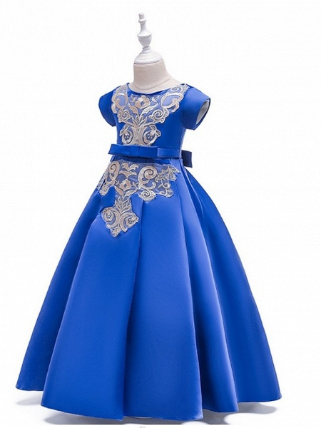 A-Line Round Floor Length Cotton Junior Bridesmaid Dress With Bow(S) / Appliques_2