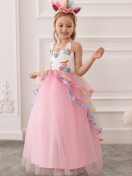 Princess / Ball Gown Floor Length Wedding / Party Flower Girl Dresses - Tulle Sleeveless Illusion Neck With Appliques / Cascading Ruffles_3