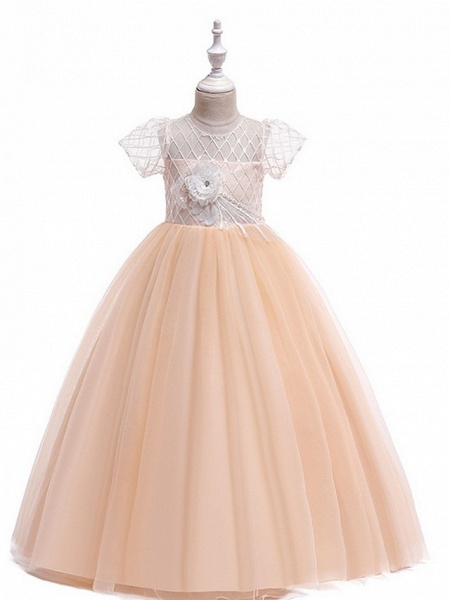 Ball Gown Round Floor Length Cotton Junior Bridesmaid Dress With Bow(S) / Appliques_1