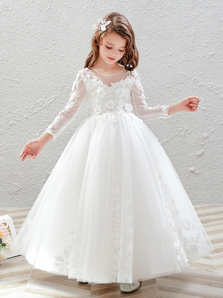 Princess / Ball Gown Ankle Length Wedding / Party Flower Girl Dresses - Tulle 3/4 Length Sleeve Jewel Neck With Pleats / Appliques_4
