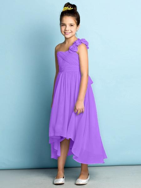 A-Line One Shoulder Asymmetrical Chiffon Junior Bridesmaid Dress With Criss Cross / Flower / Natural / Mini Me_33