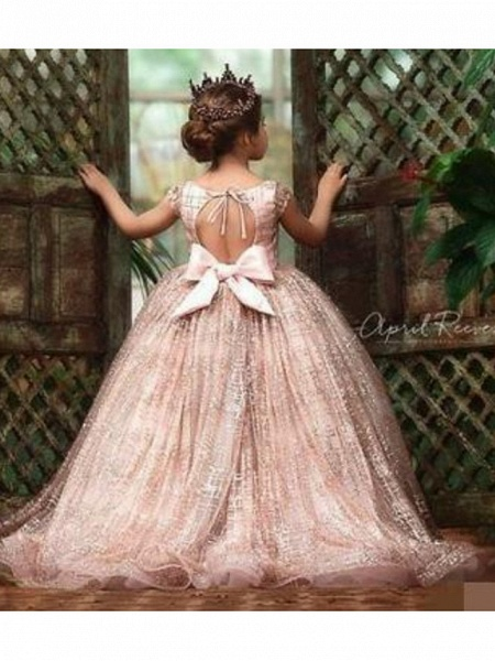 Ball Gown Sweep / Brush Train Wedding Flower Girl Dresses - Tulle Sleeveless Jewel Neck With Pick Up Skirt / Bow(S) / Solid_3