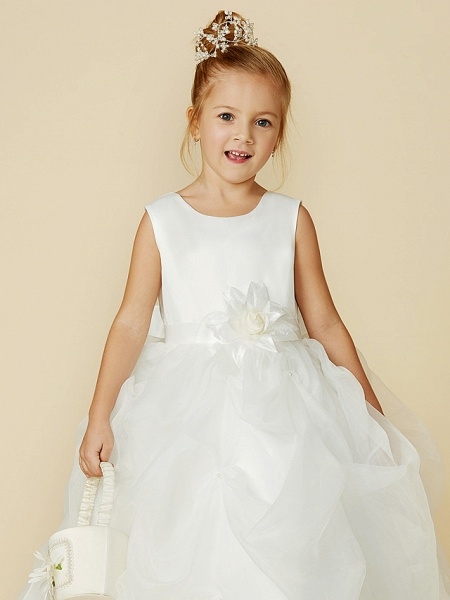 Ball Gown Floor Length Wedding / First Communion Flower Girl Dresses - Organza / Satin Sleeveless Jewel Neck With Sash / Ribbon / Bow(S) / Flower_8