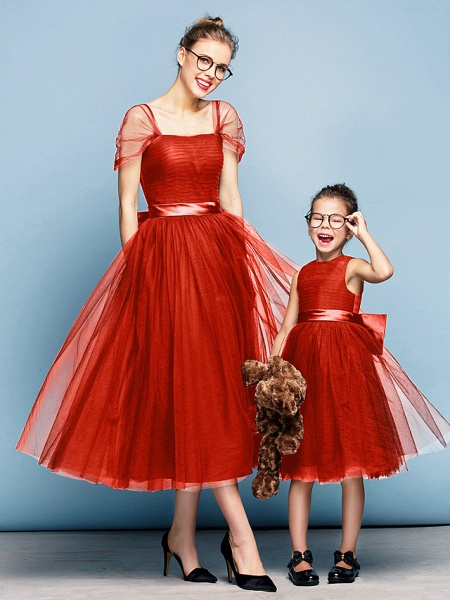 Princess Tea Length Party / Prom / Formal Evening Flower Girl Dresses - Tulle Short Sleeve Square Neck With Bow(S) / Ruched / Elegant_14