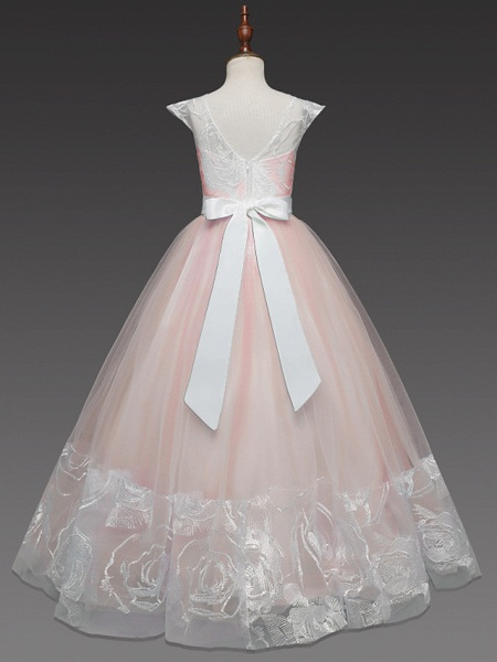 Princess Long Length Wedding / Party / First Communion Flower Girl Dresses - Lace / Tulle Cap Sleeve Jewel Neck With Belt / Crystals / Crystals / Rhinestones_6