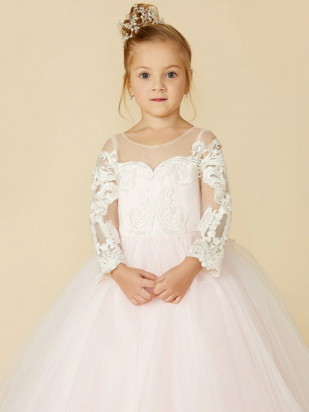 Ball Gown Court Train Wedding / Party / Pageant Flower Girl Dresses - Lace / Tulle Long Sleeve Illusion Neck With Bows / Bow(S) / Buttons_7