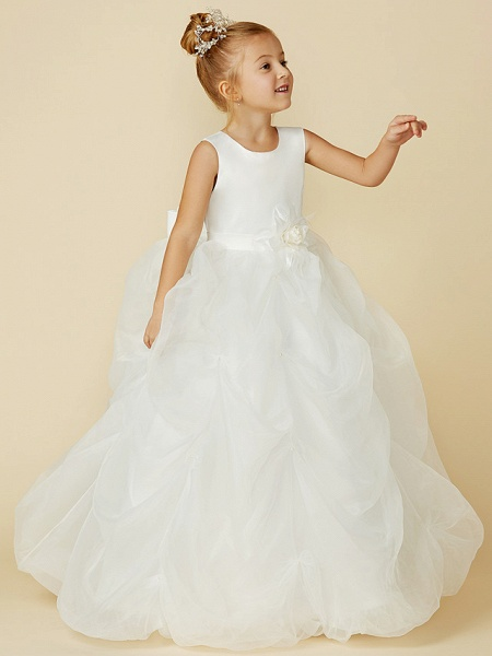 Ball Gown Floor Length Wedding / First Communion Flower Girl Dresses - Organza / Satin Sleeveless Jewel Neck With Sash / Ribbon / Bow(S) / Flower_3